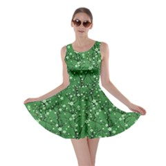 Green Tree Pattern Japanese Cherry Blossom Skater Dress