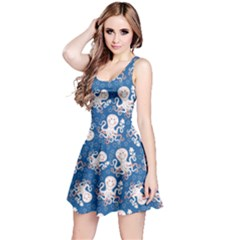 Navy Octopus Short Sleeve Skater Dress