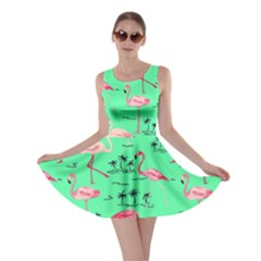 Neon Green Flamingo Bird Pattern Skater Dress