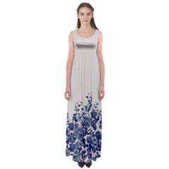 Gray Floral Empire Waist Maxi Dress by CoolDesigns