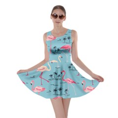 Light Blue Flamingo Bird Pattern Skater Dress