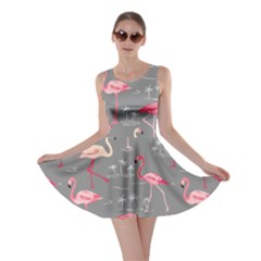 Gray Flamingo Bird Pattern Skater Dress by CoolDesigns
