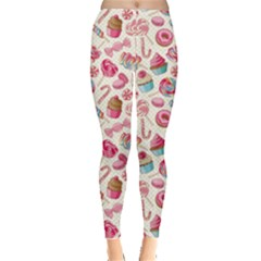 Pink Yummy Colorful Sweet Lollipop Candy Macaroon Cupcake Donut Seamless Women s Leggings by CoolDesigns