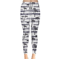 Gray Pattern With Sea And Palm Trees Summer Women s Leggings by CoolDesigns