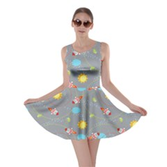 Gray Space With Cute Rocket Skater Dress by CoolDesigns
