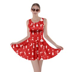 Red Lovely Cats Pattern Skater Dress