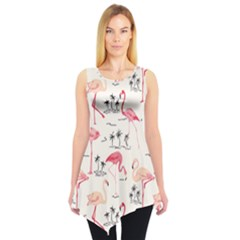 Colorful Flamingo Bird Pattern Sleeveless Tunic Top by CoolDesigns
