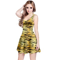Yellow Tiger Pattern Sleeveless Skater Dress