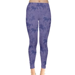 Blue Pattern Of Racing Blue Horses Women s Leggings by CoolDesigns