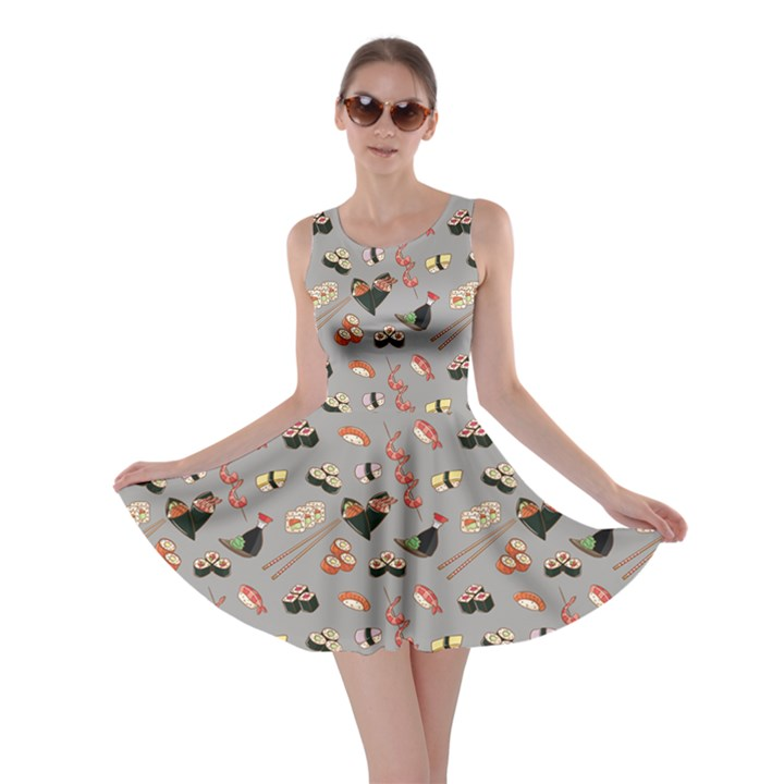 b889a298d0 Gray Japanese Food Sushi Pattern Skater Dress