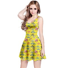 Yellow Dinosaur Stylish Pattern Skater Dress by CoolDesigns