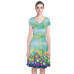 Colorful Garden Short Sleeve Front Wrap Dress by CoolDesigns