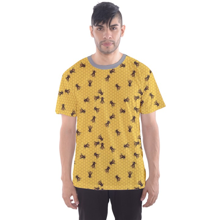 Yellow Pattern of the Bee on Honeycombs Men s Sport Mesh Tee