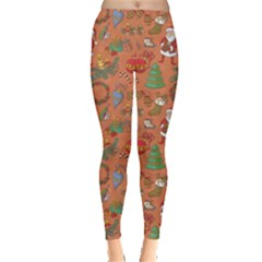 Colorful Winter Christmas Sketchy Pattern Leggings by CoolDesigns