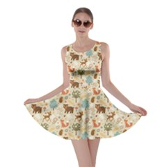 Colorful Colorful Woodland Animals Pattern Skater Dress by CoolDesigns