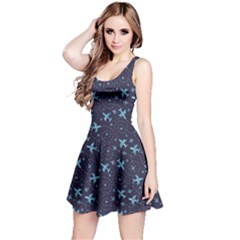 Blue Airplanes In The Night Sky Pattern Sleeveless Skater Dress
