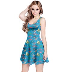 Sky Blue Dinosaur Stylish Pattern Skater Dress by CoolDesigns