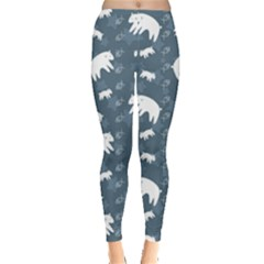 Blue Polar Bears Family On Night Sky Pattern Women s Leggings