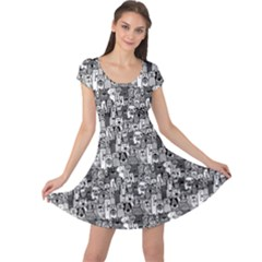 Colorful Doodle Dogs And Cats Pattern Cap Sleeve Dress