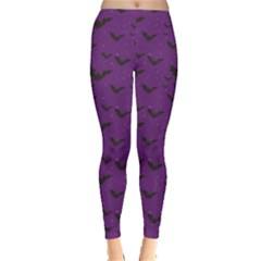 Purple With Halloween Bats And Stars Leggings by CoolDesigns