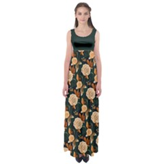 Teal Roses Empire Waist Maxi Dress by CoolDesigns