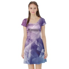 Blue Iridescent Blue Purple And Pink Pattern Short Sleeve Skater Dress