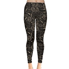 Black Halloween Pattern With Smiling Ghost Pumpkin Witch Women s Leggings by CoolDesigns