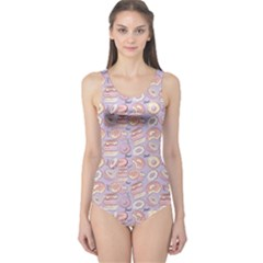 Violet Donut Pattern Women s One Piece Swimsuit