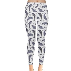 Gray Watercolor Dolphins Pattern Leggings by CoolDesigns