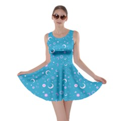 Turquoise Fun Night Sky The Moon And Stars Skater Dress by CoolDesigns