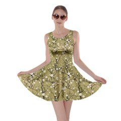 Beige Japanese Cherry Blossom Tree Pattern Skater Dress by CoolDesigns