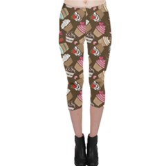 Colorful Pattern Of Tasty Cupcakes Capri Leggings