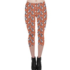 Red Cartoon Bull Terrier Pattern Capri Leggings