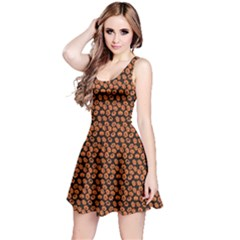 Brown Halloween Pattern With Simple Cute Pumpkins Sleeveless Dress