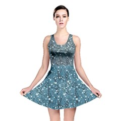 Blue Water With Pattern Tree Japanese Cherry Blossom Reversible Skater Dress by CoolDesigns