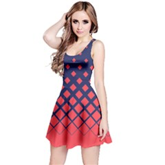 Navy Red Gradient Rhombuses Reversible Sleeveless Dress by CoolDesigns