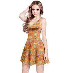 Orange Dinosaur Stylish Pattern Skater Dress