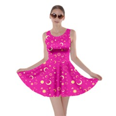Hot Pink Fun Night Sky The Moon And Stars Skater Dress by CoolDesigns