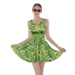 Neon Green Japanese Cherry Blossom Tree Pattern Skater Dress by CoolDesigns