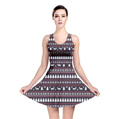 Black Christmas Pattern Pattern Reversible Skater Dress