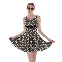 Black Halloween Ghost Pattern On A Dark Skater Dress by CoolDesigns
