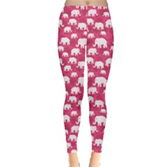 Pink Floral And Elephants Pattern Design Leggings by CoolDesigns