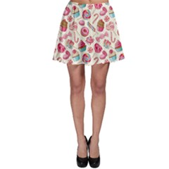 Pink Yummy Colorful Sweet Lollipop Candy Macaroon Cupcake Donut Seamless Skater Dress