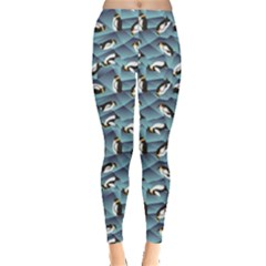Blue Penguin Pattern Abstract Penguin Crystal Ice Leggings