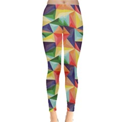 Colorful Triangle Pattern Geometric Abstract Texture Leggings