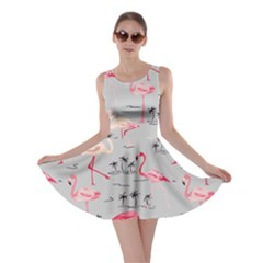 Light Gray Flamingo Bird Pattern Skater Dress