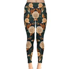 Teal Floral Leggings by CoolDesigns