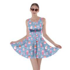 Blue Yummy Ice Cream Pattern Skater Dress