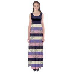 Navy Stripes Empire Waist Maxi Dress by CoolDesigns
