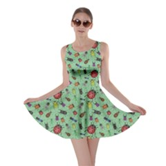 Green Color Bugs And Beetles Green Pattern Skater Dress by CoolDesigns